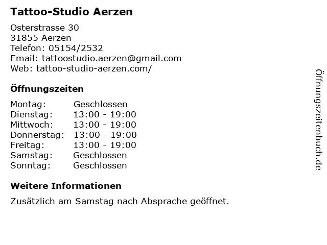 Tattoo-Studio Aerzen in Aerzen: Adresse und Öffnungszeiten
