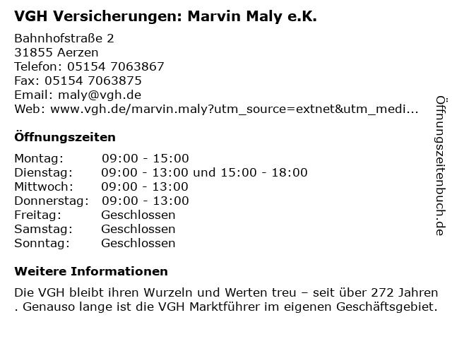 VGH Versicherungen: Marvin Maly e.K. in Aerzen: Adresse und Öffnungszeiten
