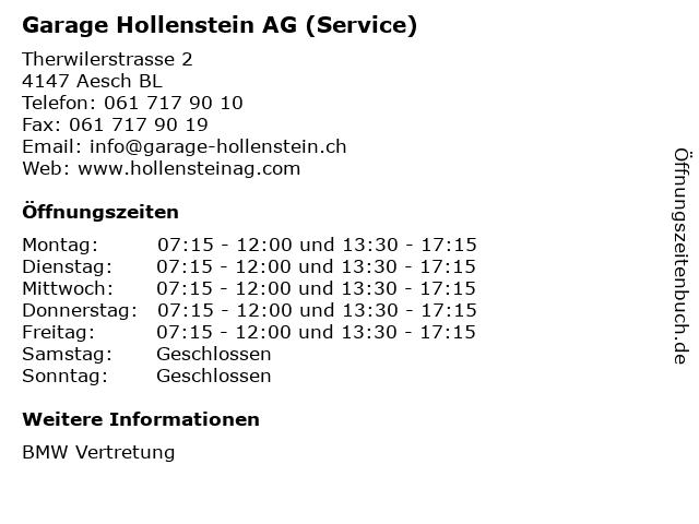 Garage Hollenstein AG (Service) in Aesch BL: Adresse und Öffnungszeiten