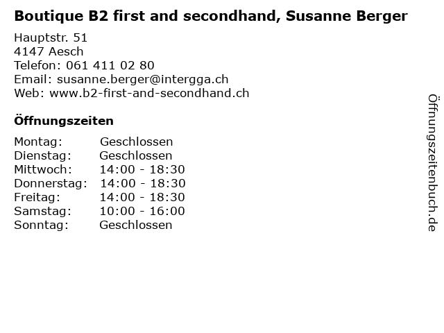Boutique B2 first and secondhand, Susanne Berger in Aesch: Adresse und Öffnungszeiten
