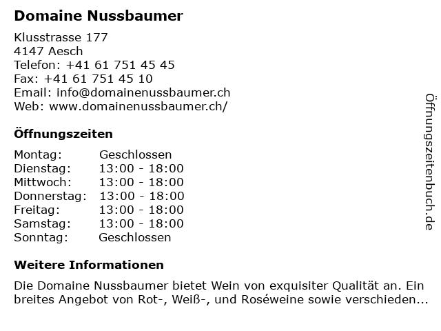 Domaine Nussbaumer in Aesch: Adresse und Öffnungszeiten