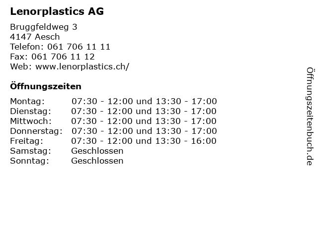 Lenorplastics AG in Aesch: Adresse und Öffnungszeiten