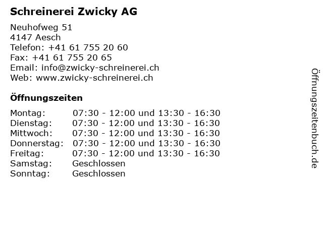 Schreinerei Zwicky AG in Aesch: Adresse und Öffnungszeiten