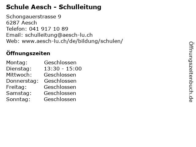 Schule Aesch - Schulleitung in Aesch: Adresse und Öffnungszeiten