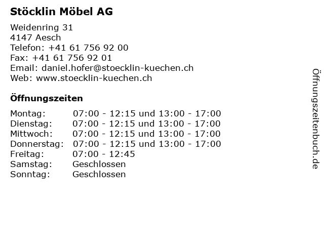 Stöcklin Möbel AG in Aesch: Adresse und Öffnungszeiten