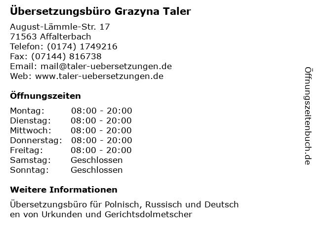 Übersetzungsbüro Grazyna Taler in Affalterbach: Adresse und Öffnungszeiten