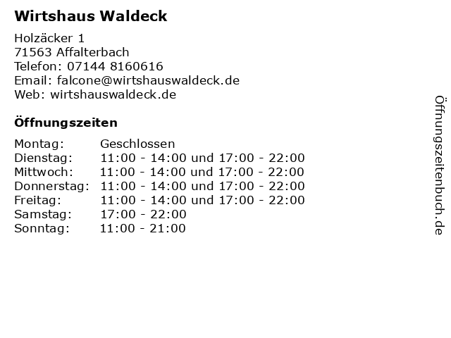 Wirtshaus Waldeck in Affalterbach: Adresse und Öffnungszeiten