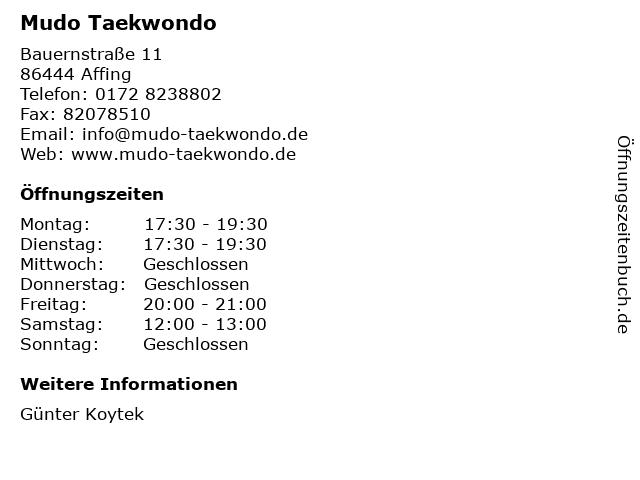 Mudo Taekwondo in Affing: Adresse und Öffnungszeiten