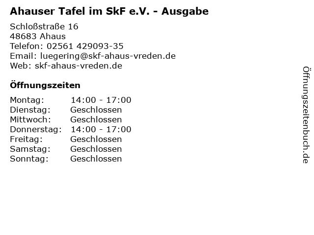 Ahauser Tafel im SkF e.V. - Ausgabe in Ahaus: Adresse und Öffnungszeiten
