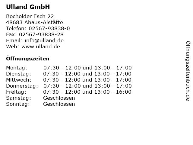Ulland GmbH in Ahaus-Alstätte: Adresse und Öffnungszeiten