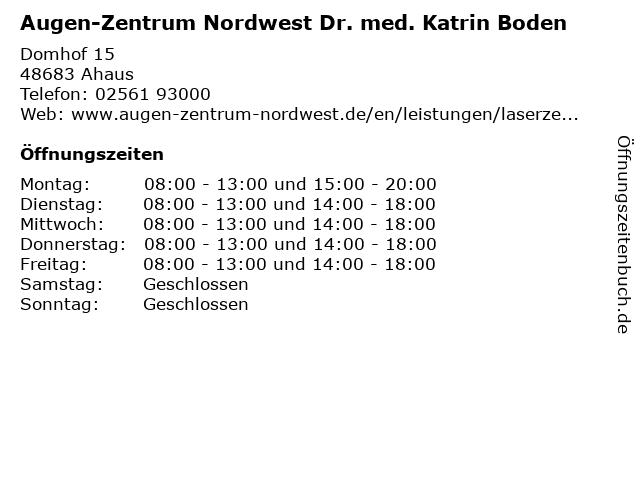 Augen-Zentrum Nordwest Dr. med. Katrin Boden in Ahaus: Adresse und Öffnungszeiten