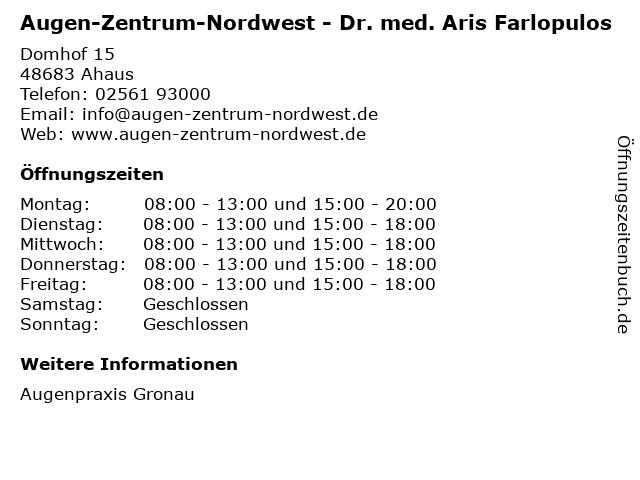 Augen-Zentrum-Nordwest - Dr. med. Aris Farlopulos in Ahaus: Adresse und Öffnungszeiten