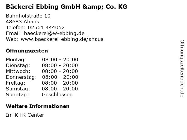 Bäckerei Ebbing GmbH & Co. KG in Ahaus: Adresse und Öffnungszeiten