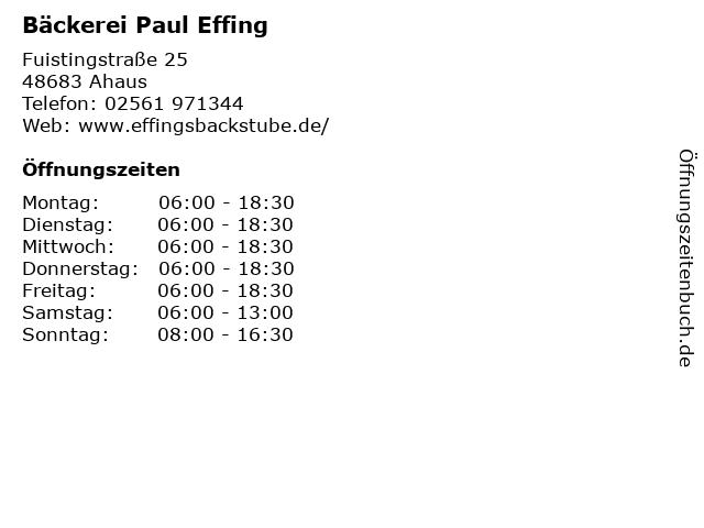 Bäckerei Paul Effing in Ahaus: Adresse und Öffnungszeiten