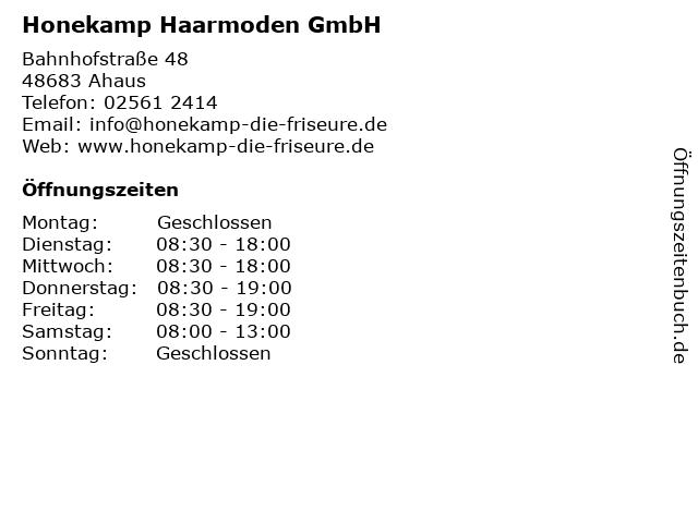 ᐅ Offnungszeiten Honekamp Haarmoden Gmbh Bahnhofstrasse 48 In Ahaus