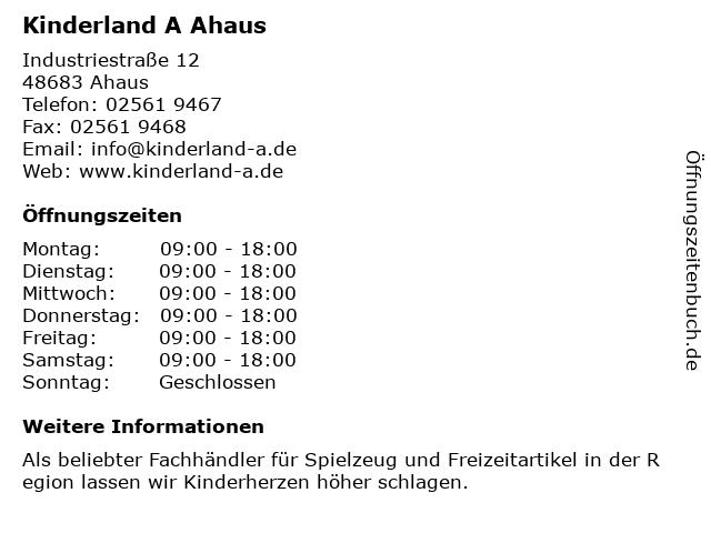 Kinderland A GmbH in Ahaus: Adresse und Öffnungszeiten