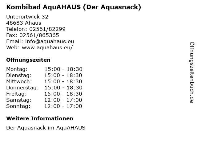 Kombibad AquAHAUS (Der Aquasnack) in Ahaus: Adresse und Öffnungszeiten