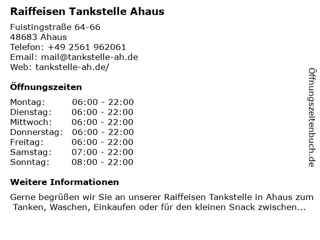 Raiffeisen Tankstelle Ahaus in Ahaus: Adresse und Öffnungszeiten