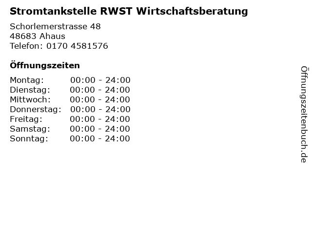 Stromtankstelle RWST Wirtschaftsberatung in Ahaus: Adresse und Öffnungszeiten