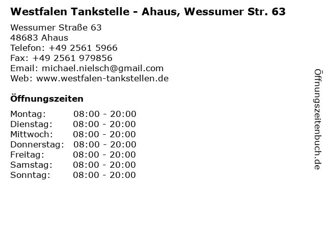 Westfalen Tankstelle - Ahaus, Wessumer Str. 63 in Ahaus: Adresse und Öffnungszeiten