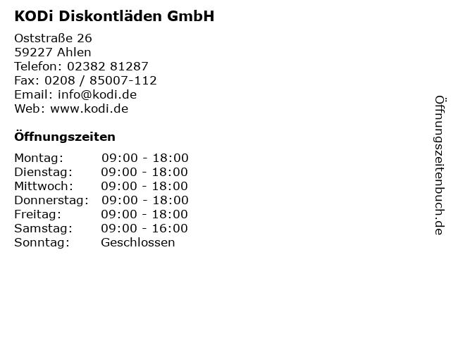 KODi Diskontläden GmbH in Ahlen: Adresse und Öffnungszeiten