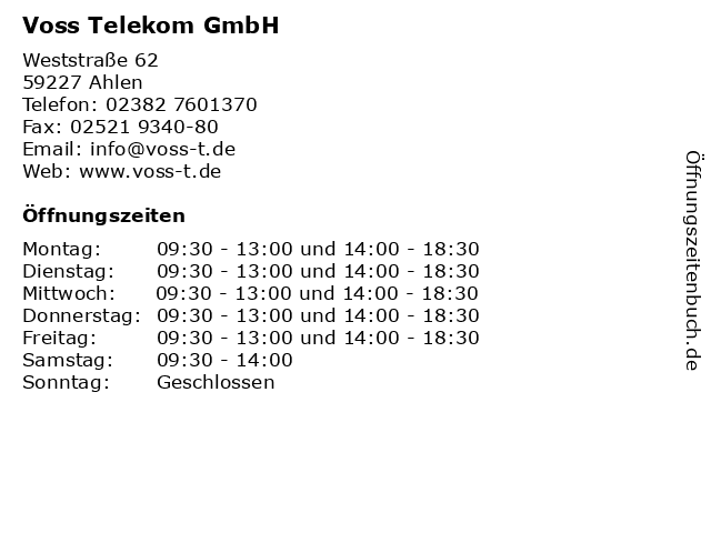 Voss Telekom GmbH in Ahlen: Adresse und Öffnungszeiten