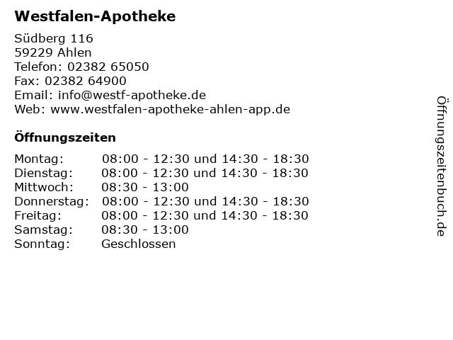 Westfalen-Apotheke in Ahlen: Adresse und Öffnungszeiten