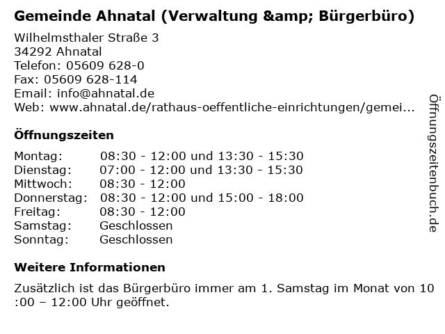 Gemeinde Ahnatal (Verwaltung & Bürgerbüro) in Ahnatal: Adresse und Öffnungszeiten