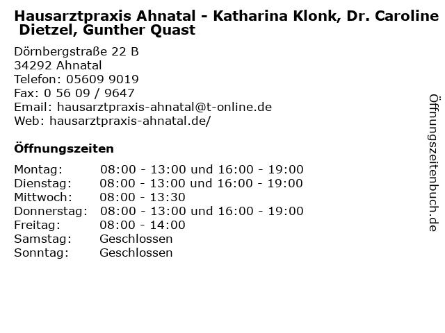 Hausarztpraxis Ahnatal - Dr. Ulrike Schachl-Pröpper, Katharina Klonk, Dr. Caroline Dietzel, Gunther Quast in Ahnatal: Adresse und Öffnungszeiten