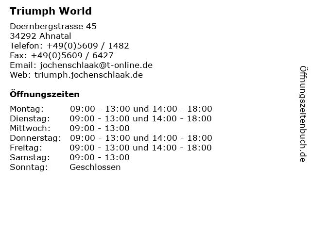 Triumph World in Ahnatal: Adresse und Öffnungszeiten