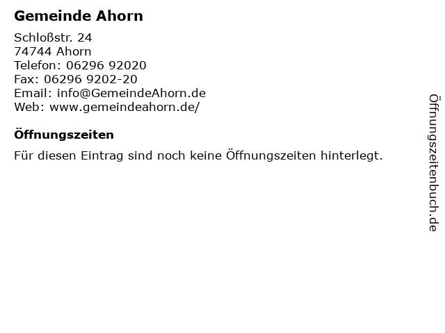 Gemeinde Ahorn in Ahorn: Adresse und Öffnungszeiten