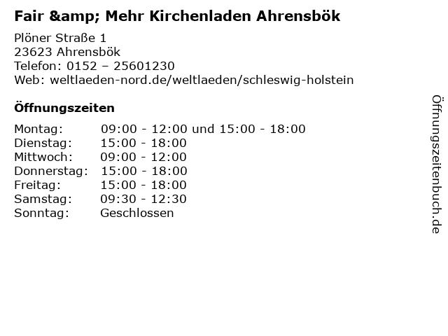 Fair & Mehr Kirchenladen Ahrensbök in Ahrensbök: Adresse und Öffnungszeiten