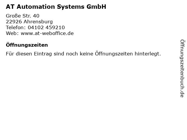 AT Automation Systems GmbH in Ahrensburg: Adresse und Öffnungszeiten