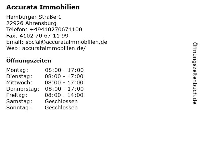 Accurata Immobilien in Ahrensburg: Adresse und Öffnungszeiten