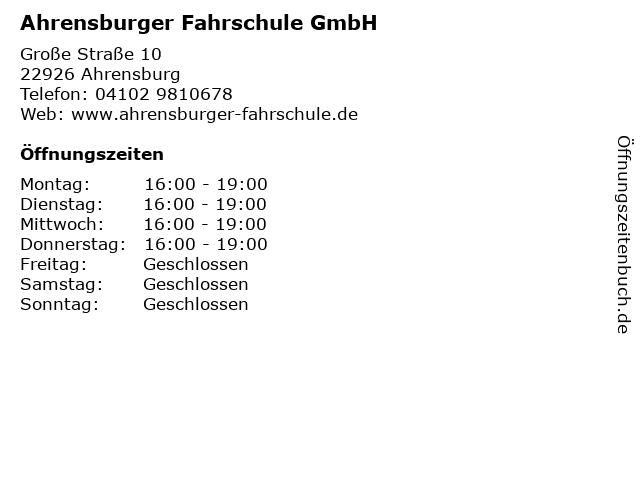 Ahrensburger Fahrschule GmbH in Ahrensburg: Adresse und Öffnungszeiten