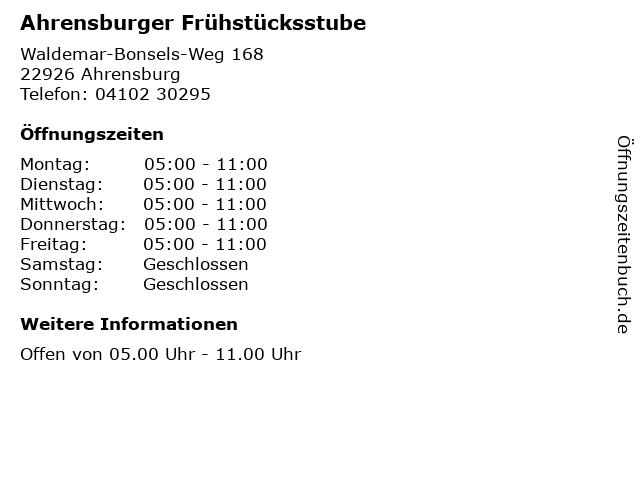 Ahrensburger Frühstücksstube in Ahrensburg: Adresse und Öffnungszeiten