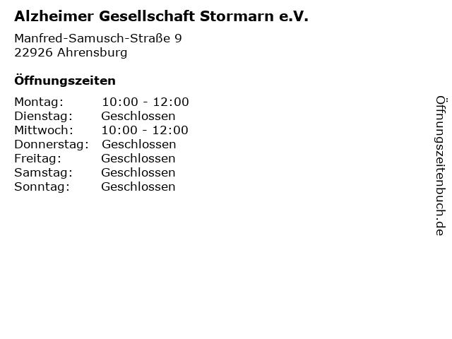 Alzheimer Gesellschaft Stormarn e.V. in Ahrensburg: Adresse und Öffnungszeiten