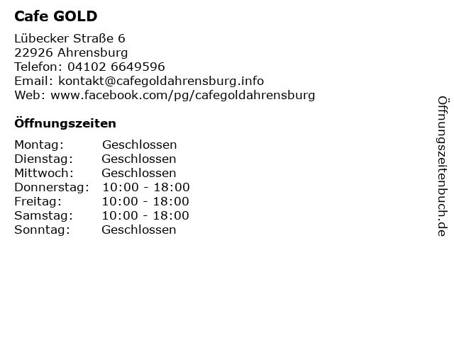 Cafe GOLD in Ahrensburg: Adresse und Öffnungszeiten
