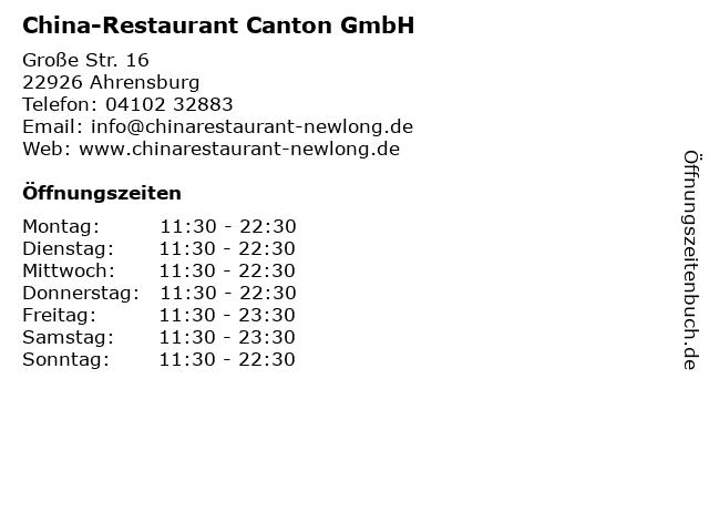 China-Restaurant Canton GmbH in Ahrensburg: Adresse und Öffnungszeiten