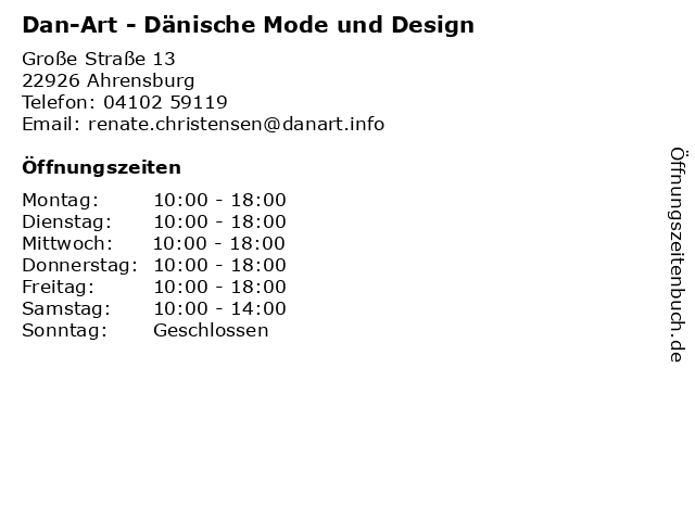 ᐅ öffnungszeiten Dan Art Dänische Mode Und Design Große