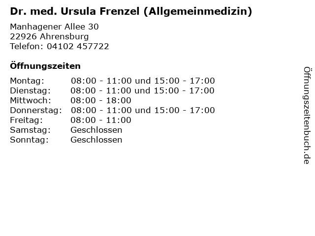 Dr. med. Ursula Frenzel (Allgemeinmedizin) in Ahrensburg: Adresse und Öffnungszeiten