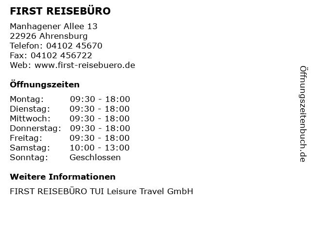 FIRST REISEBÜRO in Ahrensburg: Adresse und Öffnungszeiten