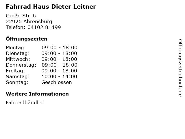 Fahrrad Haus Dieter Leitner in Ahrensburg: Adresse und Öffnungszeiten