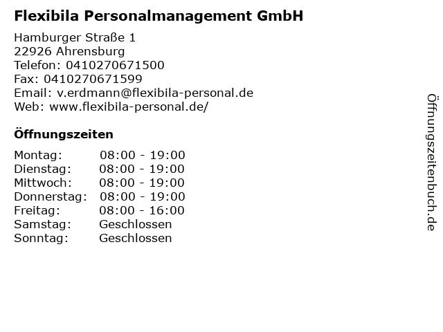 Flexibila Personalmanagement GmbH in Ahrensburg: Adresse und Öffnungszeiten
