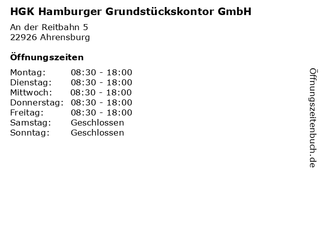 HGK Hamburger Grundstückskontor GmbH in Ahrensburg: Adresse und Öffnungszeiten