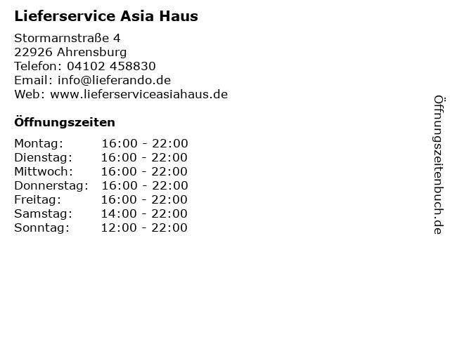 Lieferservice Asia Haus in Ahrensburg: Adresse und Öffnungszeiten