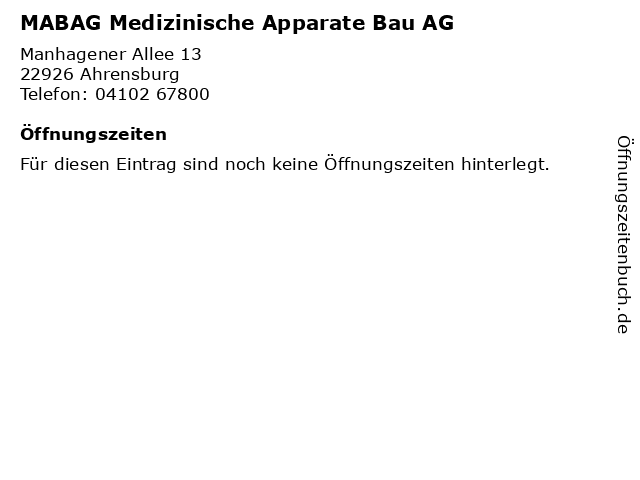 MABAG Medizinische Apparate Bau AG in Ahrensburg: Adresse und Öffnungszeiten