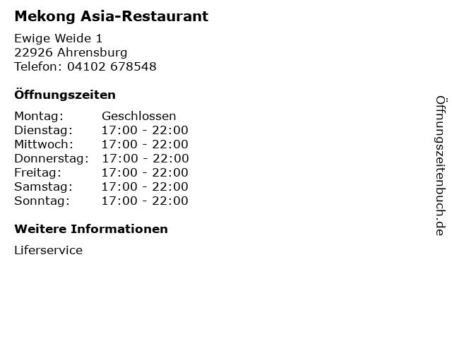Mekong Asia-Restaurant in Ahrensburg: Adresse und Öffnungszeiten