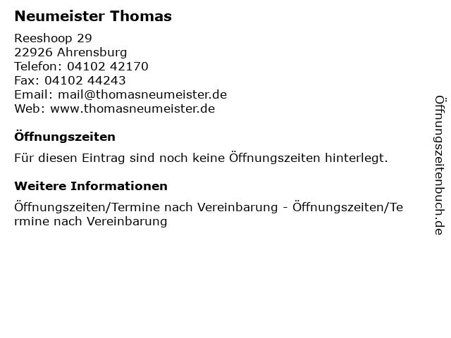 Neumeister Thomas in Ahrensburg: Adresse und Öffnungszeiten