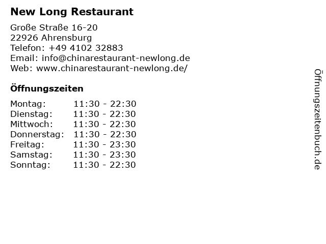 New Long Restaurant in Ahrensburg: Adresse und Öffnungszeiten